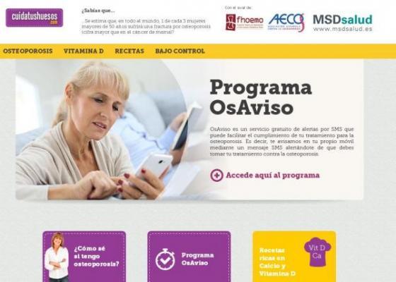 el portal web cuidatushuesoscom de msd informa sobre la osteoporosis