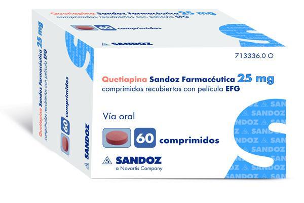 sandoz lanza quetiapina en la dosis de 25 mg